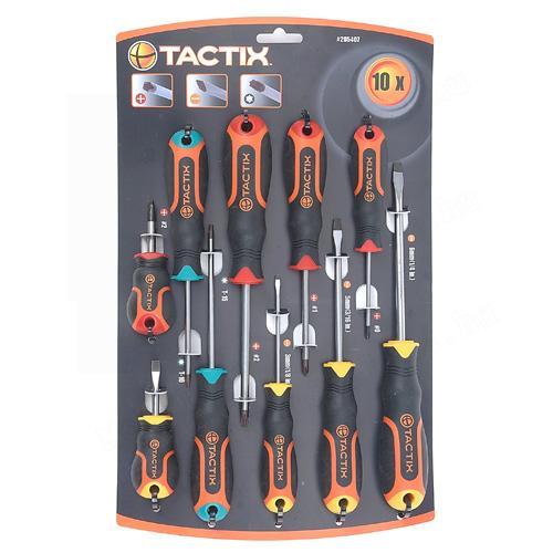 Tactix csavarhúzó készlet 10-részes lapos+PH+TX mágnesezett