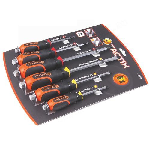Tactix csavarhúzó készlet 6-részes üthető nyelű, mágnesezett!