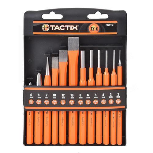 Tactix kiütő és véső készlet 12-részes